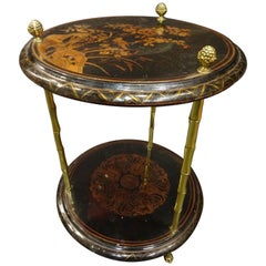Maison Bagues Black Endtable France, Chinoiseries, Gilt Bronce, 1970s