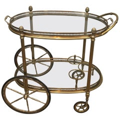 Maison Baguès. Brass and Silver Plated Neoclassical Bar Cart