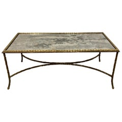 Maison Bagues Brass Coffee Table with Oxidized Mirror Top