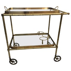 French Mid-Century Brass Faux Bamboo Drinks Trolley / Bar Cart, 1950s
