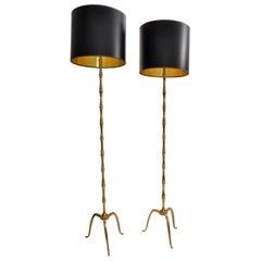 Maison Baguès Brass Mid-Century Modern Floor Lamp France 1950 Black Shade, Pair