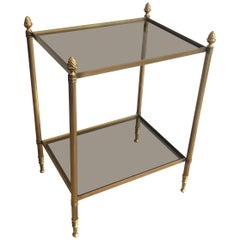 Maison Baguès, Brass Side Table with Smoked Glass Shelves, French, circa 1940