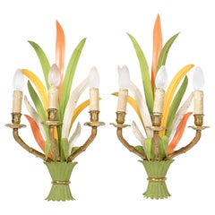 Maison Baguès Bronze and Enamel 'Feuillage' 3-Light Wall Sconces France, Pair