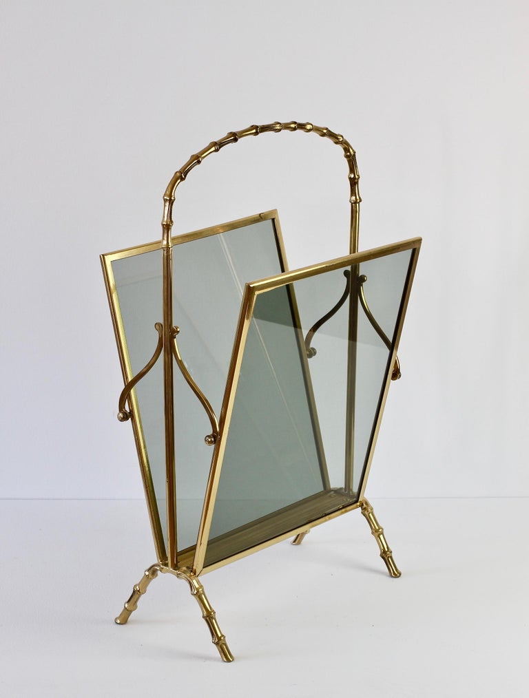 Maison Baguès attr. Cast Brass Faux Bamboo Magazine Rack or Newspaper Stand For Sale 4