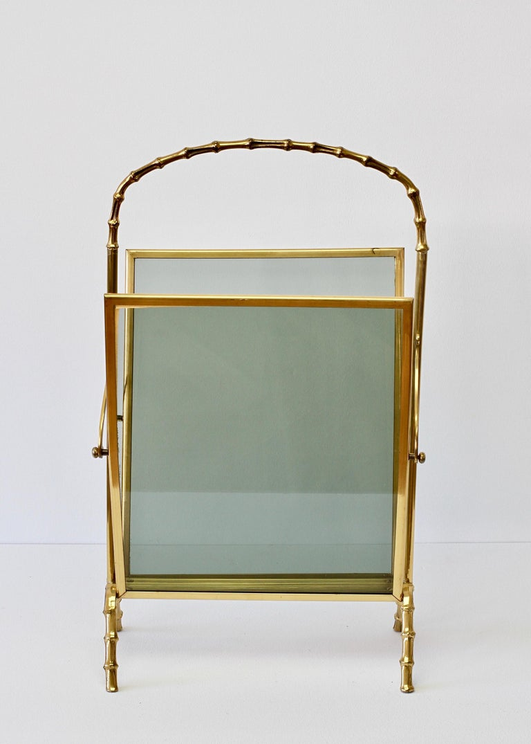Maison Baguès attr. Cast Brass Faux Bamboo Magazine Rack or Newspaper Stand For Sale 6