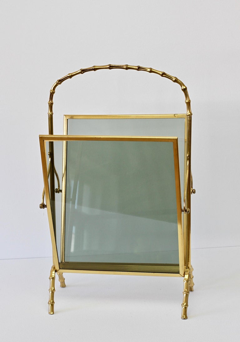 Maison Baguès attr. Cast Brass Faux Bamboo Magazine Rack or Newspaper Stand For Sale 7