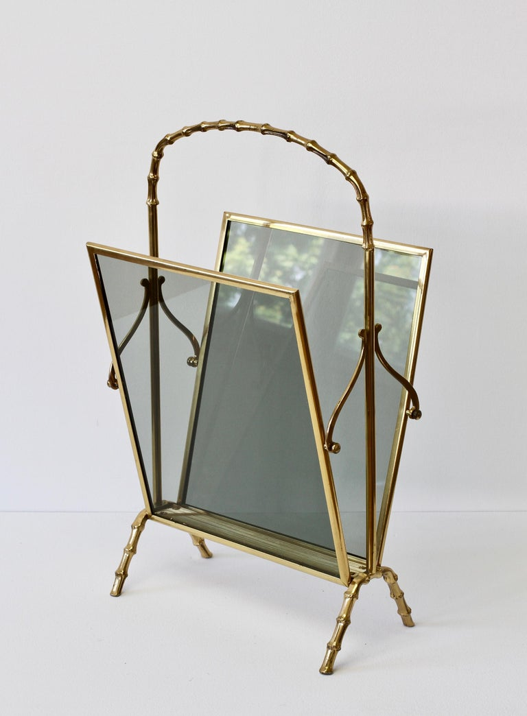 Maison Baguès attr. Cast Brass Faux Bamboo Magazine Rack or Newspaper Stand For Sale 8