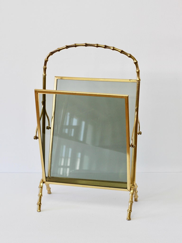 Maison Baguès attr. Cast Brass Faux Bamboo Magazine Rack or Newspaper Stand For Sale 9