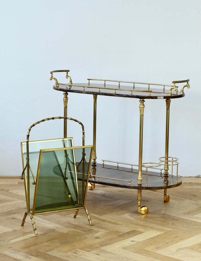 Maison Baguès attr. Cast Brass Faux Bamboo Magazine Rack or Newspaper Stand For Sale 11