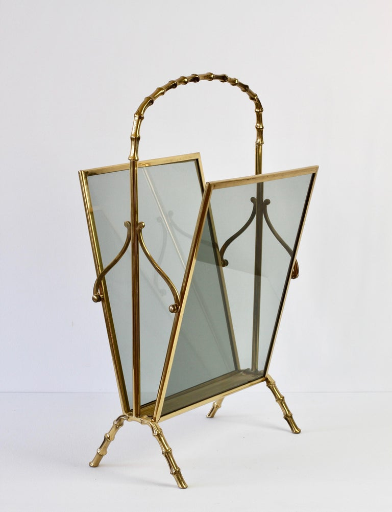 French Maison Baguès attr. Cast Brass Faux Bamboo Magazine Rack or Newspaper Stand For Sale