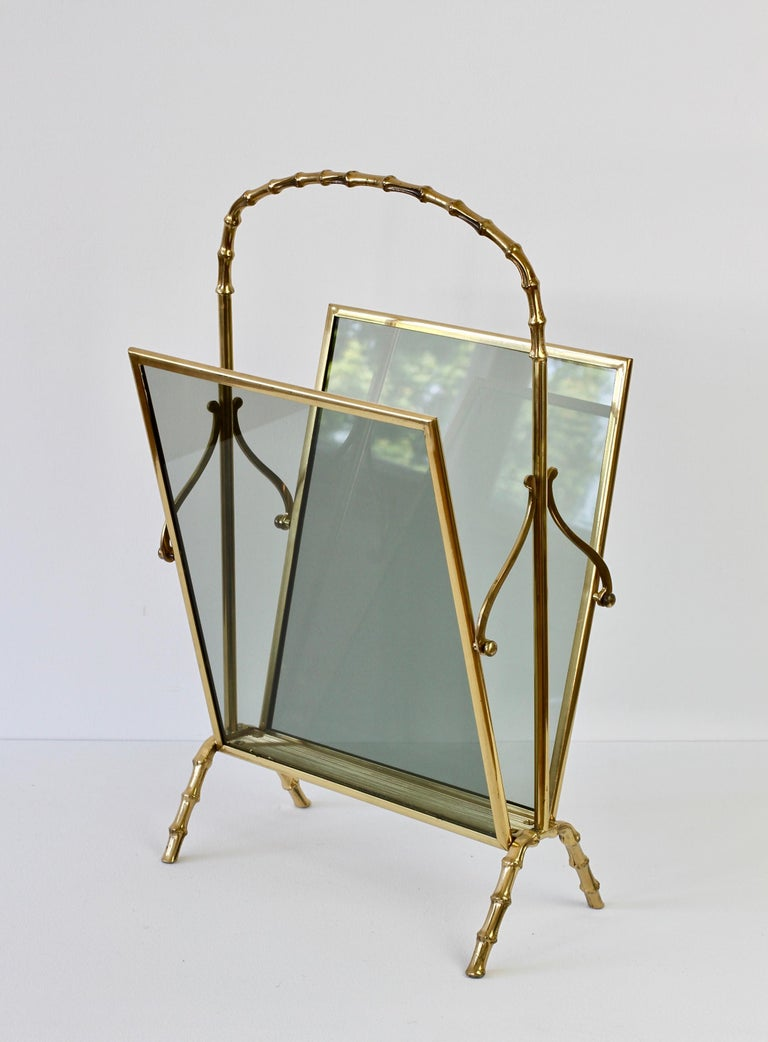 20th Century Maison Baguès attr. Cast Brass Faux Bamboo Magazine Rack or Newspaper Stand For Sale