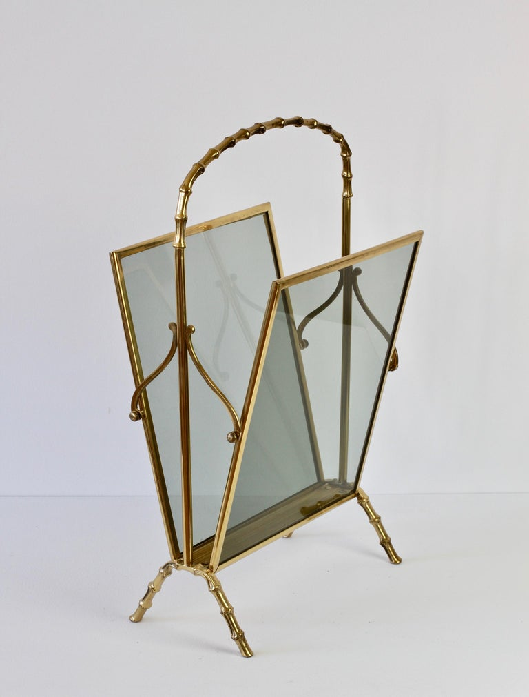 Maison Baguès attr. Cast Brass Faux Bamboo Magazine Rack or Newspaper Stand For Sale 2