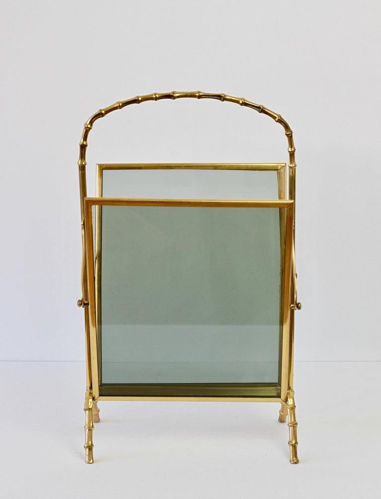 Maison Baguès attr. Cast Brass Faux Bamboo Magazine Rack or Newspaper Stand For Sale 3
