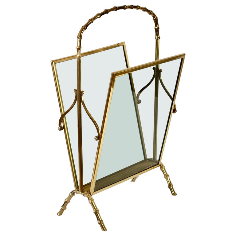 Maison Baguès attr. Cast Brass Faux Bamboo Magazine Rack or Newspaper Stand For Sale
