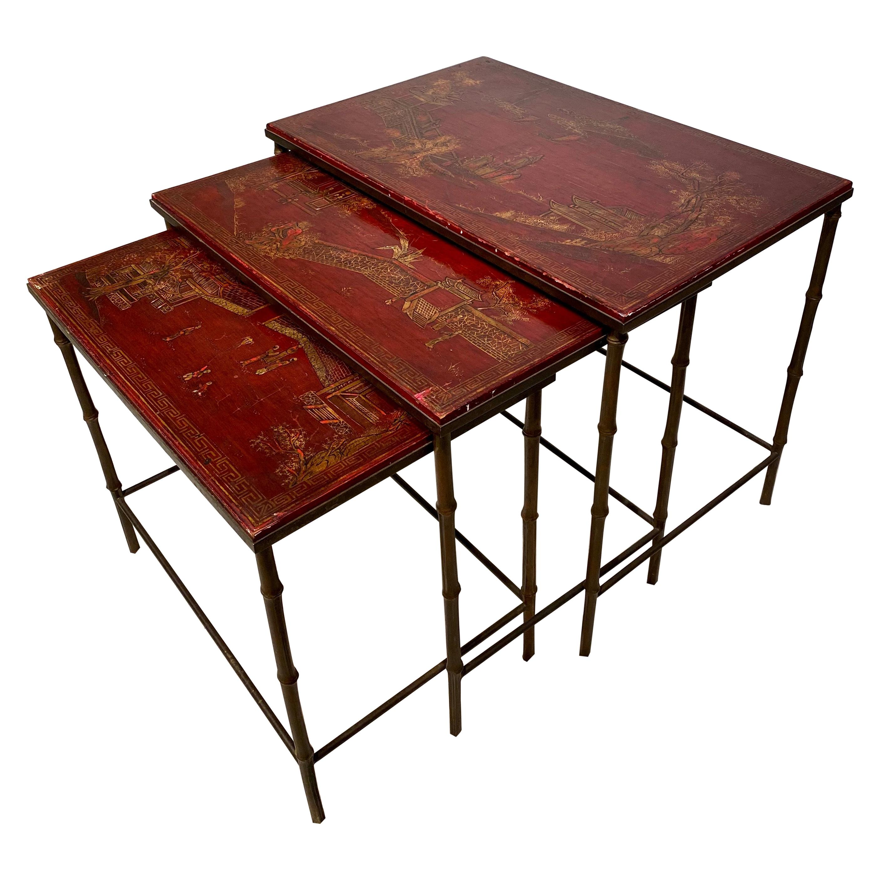 Maison Bagues Chinese Style Nesting Tables 1950s