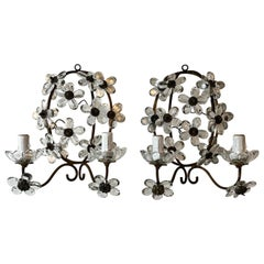 Maison Baguès Clear Crystal Flower Sconces Marked, circa 1920