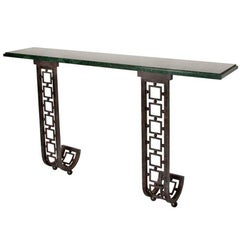 Certified Maison Baguès Console Table- Marble and hand hammered iron.