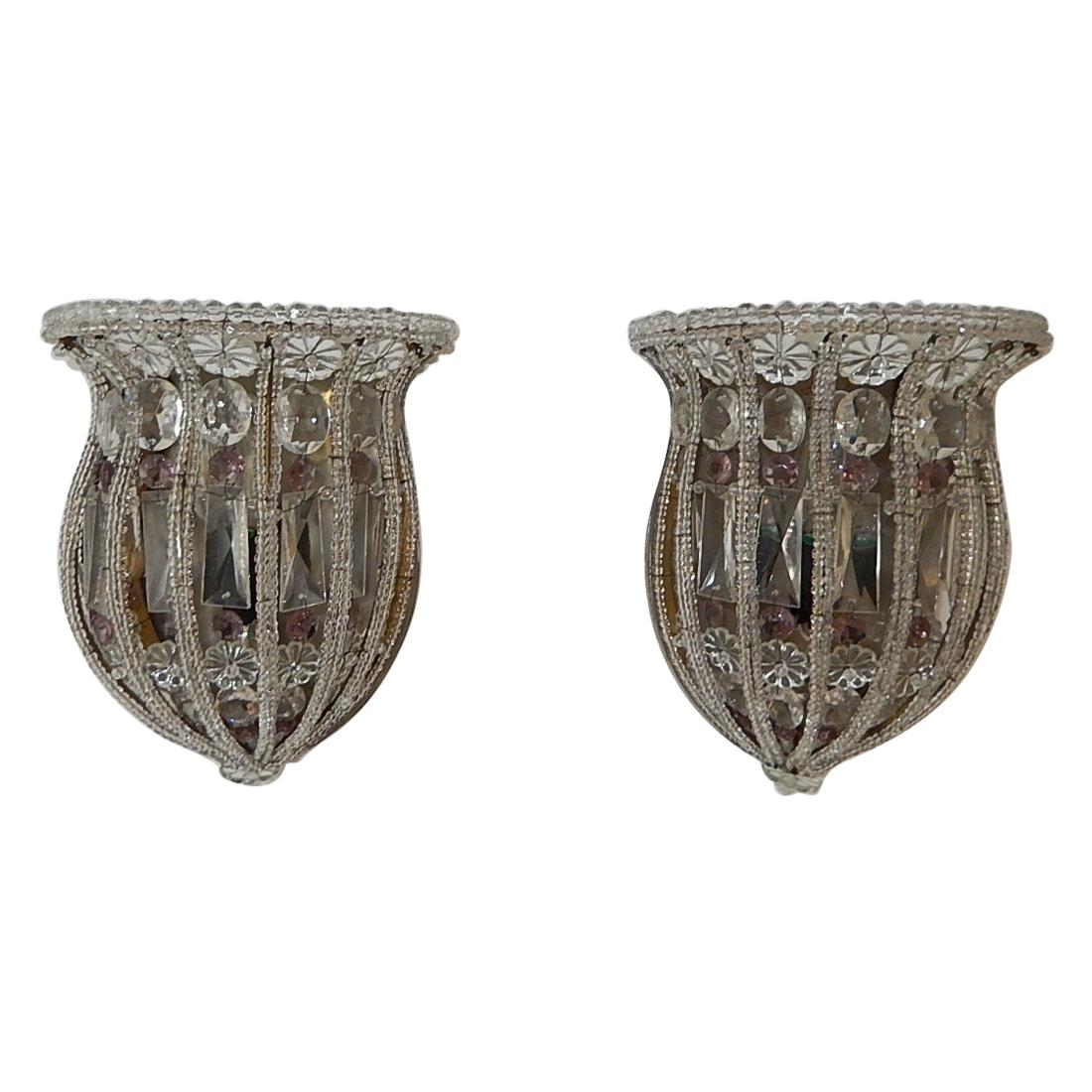 Maison Bagues Crystal & Amethyst Beaded Sconces, circa 1900