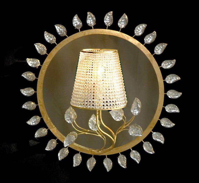 Mid-Century Modern Certified Baguès Paris Crystal Mirror Sconce For Sale