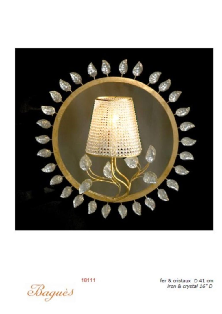 French Certified Baguès Paris Crystal Mirror Sconce For Sale