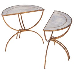 Maison Baguès Demilune Sidetables with Mirrored Glass Tops