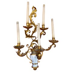 Maison Baguès, Exceptional Wall Light with 5 Light Arms in Gold Metal circa 1950