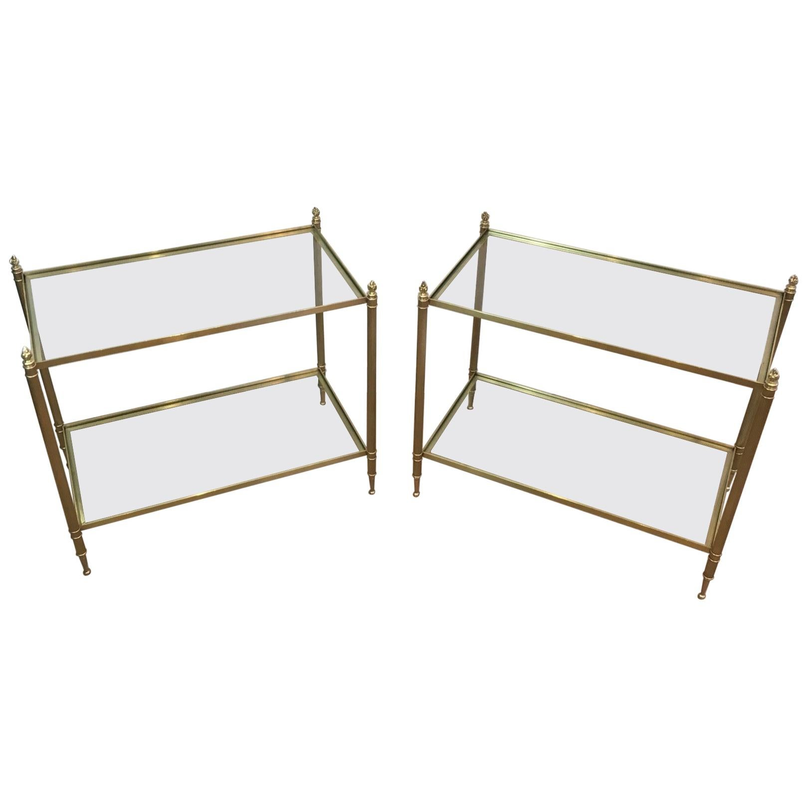 Maison Bagués, Faux Bamboo Bronze Side Table with Original Eglomised Mirror, Fre