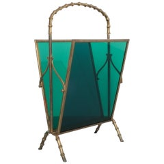 Maison Baguès Attr. Faux Bamboo Green Lucite Magazine Rack