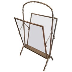 Maison Baguès Faux-Bamboo Silvered Bronze Magazine Rack, French