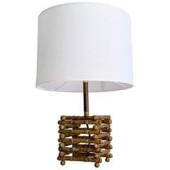 Maison Baguès Faux Bamboo Table Lamp, 1950's