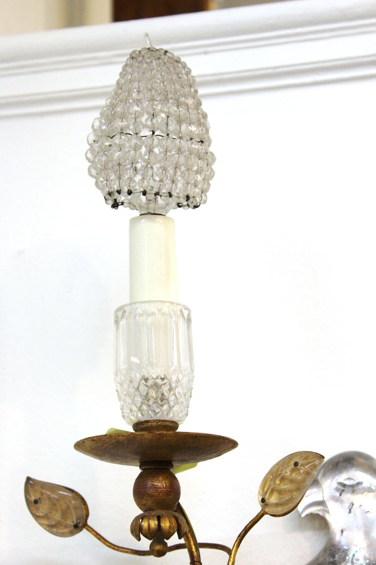 Maison Baguès French Crystal Bird Wall Scones For Sale 3