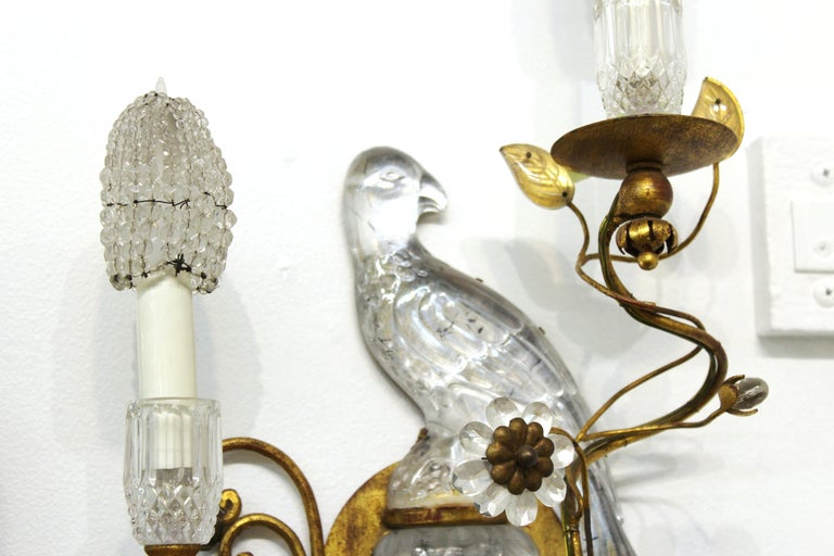 Maison Baguès French Crystal Bird Wall Scones For Sale 4