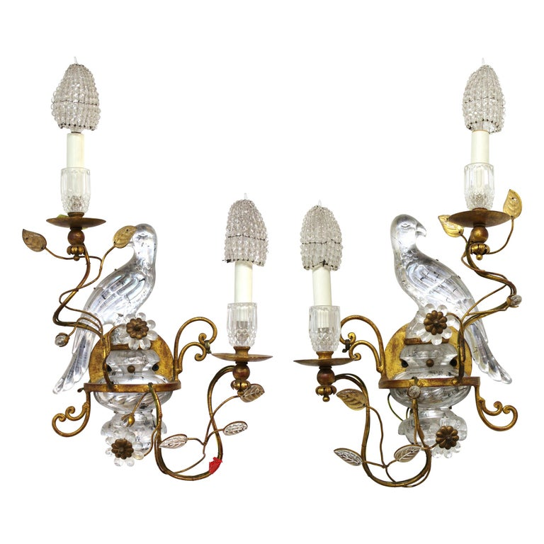 Maison Baguès French Crystal Bird Wall Scones For Sale