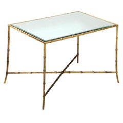 Maison Baguès Gilt-Bronze Bamboo and Mirrored Top Side Table