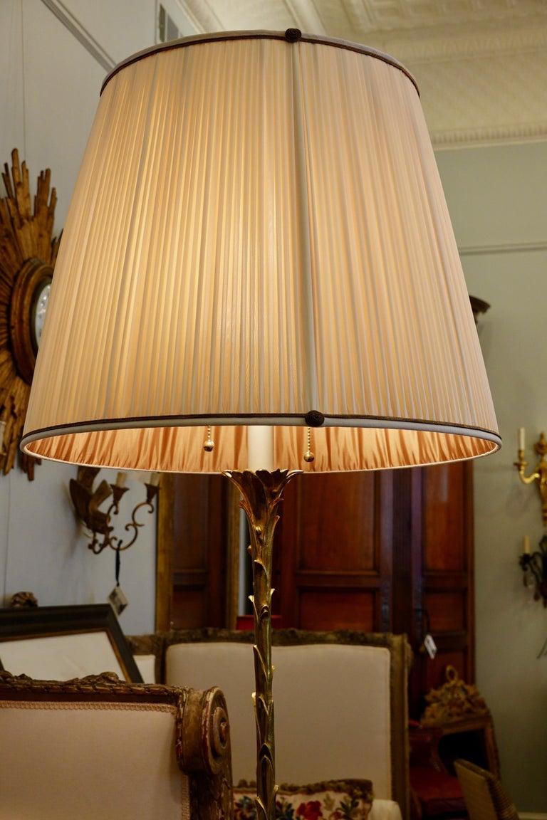 Maison Baguès Giltbronze Palm Frond Floor Lamp with Custom Silk Shade For Sale 3