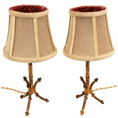Maison Baguès Inspired Gilt Iron Faux Bamboo Tripod Table Lamps, Pair