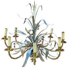 Maison Baguès, Large Chandelier in Gilded Bronze and Lacquered Metal circa 1950