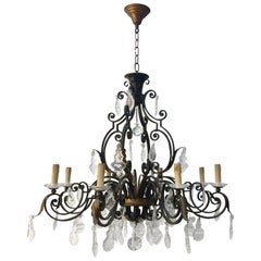 Maison Baguès, Large French Chandelier in Wrought Iron, Crystal and Glass