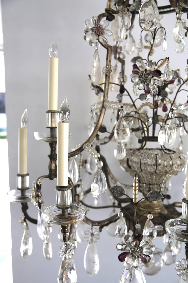 Louis XV Style Rock Crystal Chandelier For Sale 5