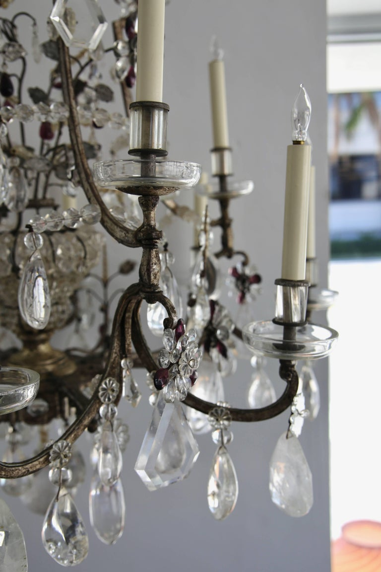 Louis XV Style Rock Crystal Chandelier In Good Condition For Sale In West Palm Beach, FL