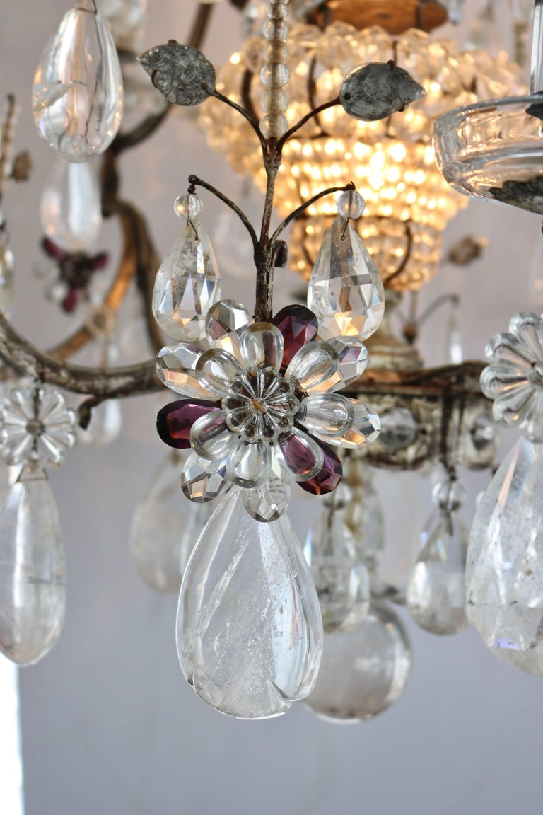 20th Century  Louis XV Style Rock Crystal Chandelier For Sale