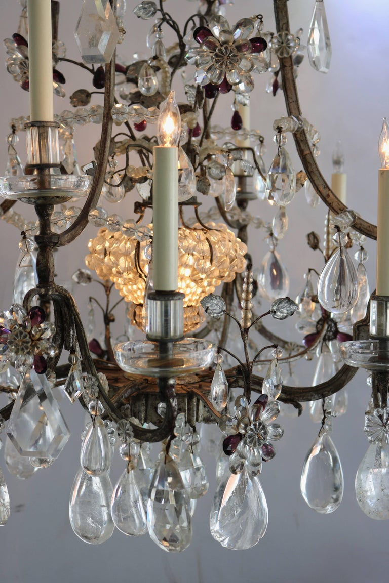 Louis XV Style Rock Crystal Chandelier For Sale 4