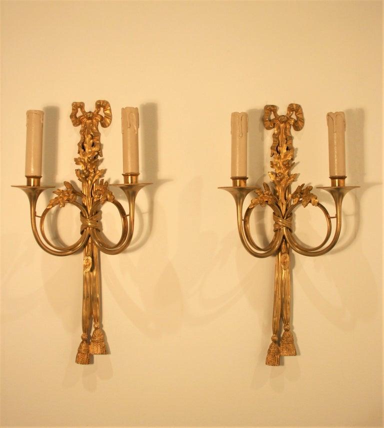 Maison Baguès, Louis XVI Gilt Bronze Sconces, 1920s In Good Condition For Sale In Belgium, BE