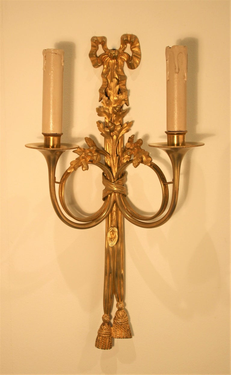 Maison Baguès, Louis XVI Gilt Bronze Sconces, 1920s For Sale 1