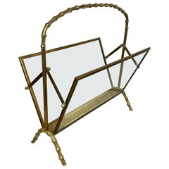 Maison Baguès Magazine Rack Stand Faux Bamboo Brass Glass, France, 1950s