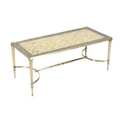Maison Baguès Midcentury French Brass and Églomisé Coffee or Cocktail Table