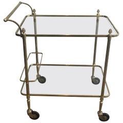 Maison Bagués, Neoclassical Brass Bar Cart with 2 Clear Glass Shelves