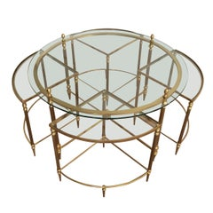 Maison Bagués, Neoclassical Round Brass Coffee Table with 4 Nesting Tables