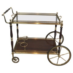 Maison Bagués, Neoclassical Style Brass and Mahogany Drinks Trolley