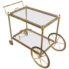 Maison Bagués, Neoclassical Style Brass Bar Cart with Removable Tray